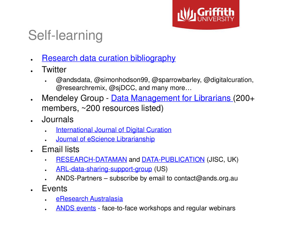Self-learning ● Research data curation bibliogr...