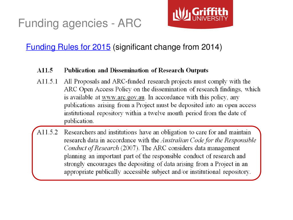 Funding agencies - ARC Funding Rules for 2015 (...