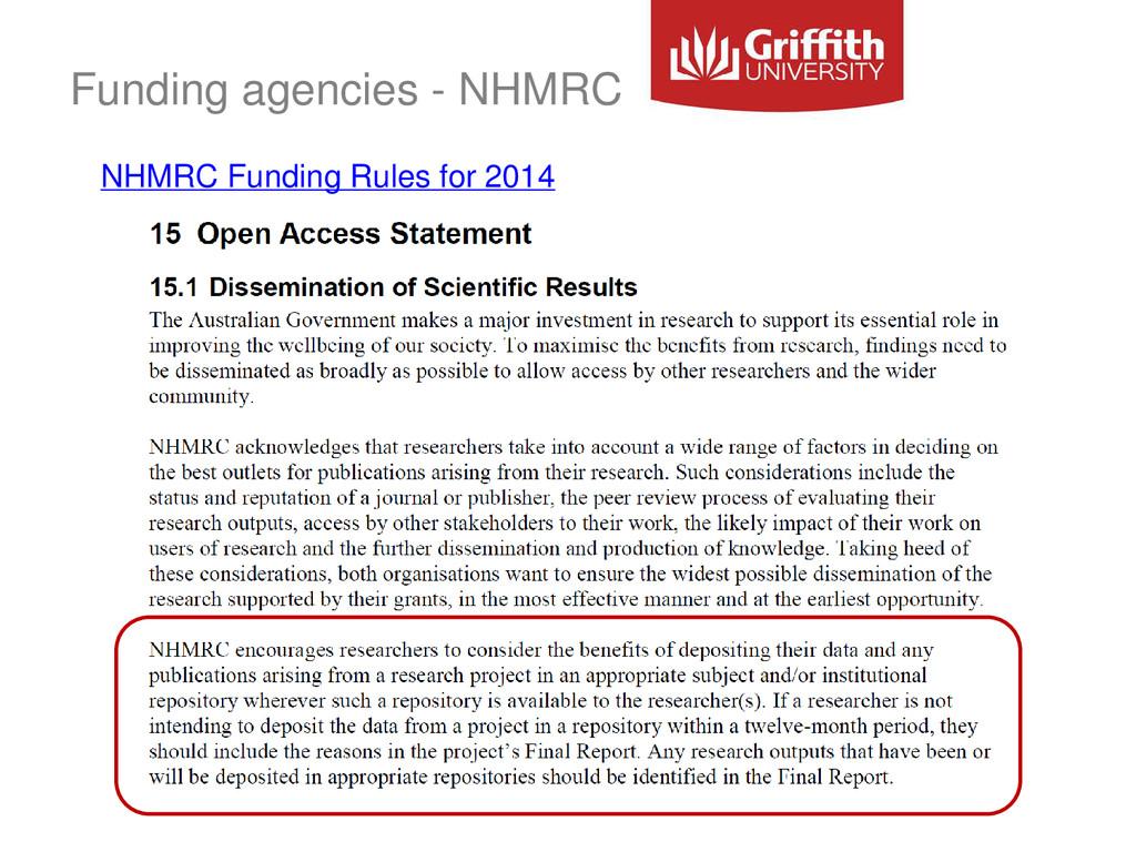 Funding agencies - NHMRC NHMRC Funding Rules fo...