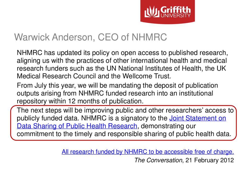 Warwick Anderson, CEO of NHMRC NHMRC has update...