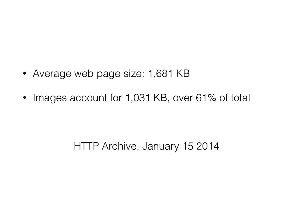 • Average web page size: 1,681 KB • Images acco...