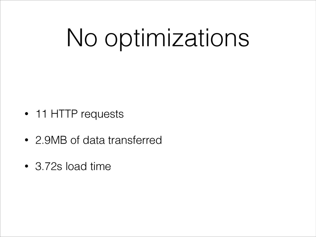 No optimizations • 11 HTTP requests • 2.9MB of ...