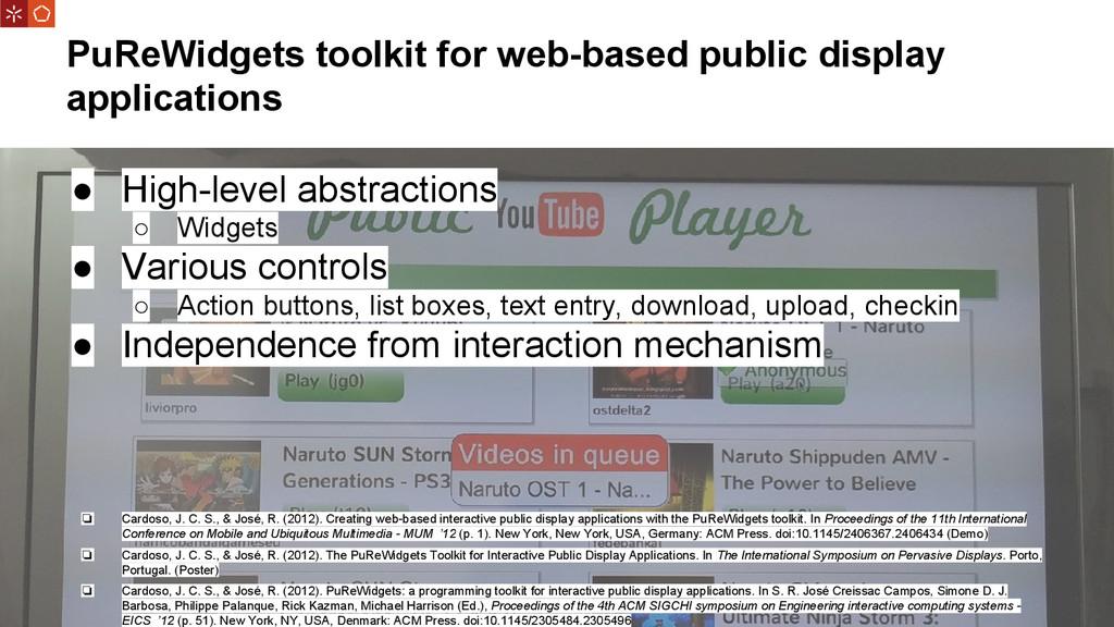 PuReWidgets toolkit for web-based public displa...