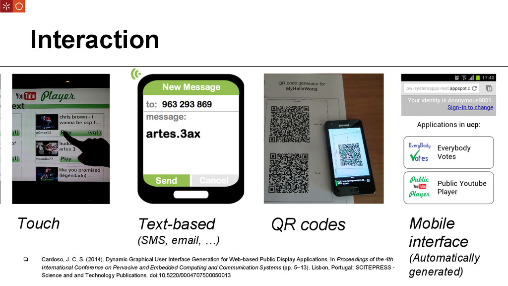 Interaction Touch Text-based (SMS, email, …) QR...