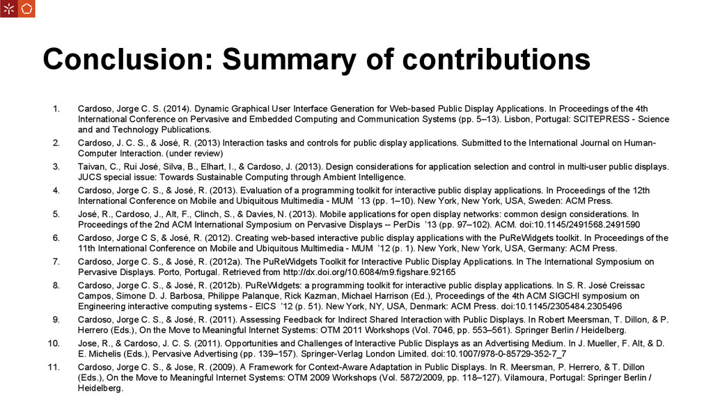 Conclusion: Summary of contributions 1. Cardoso...