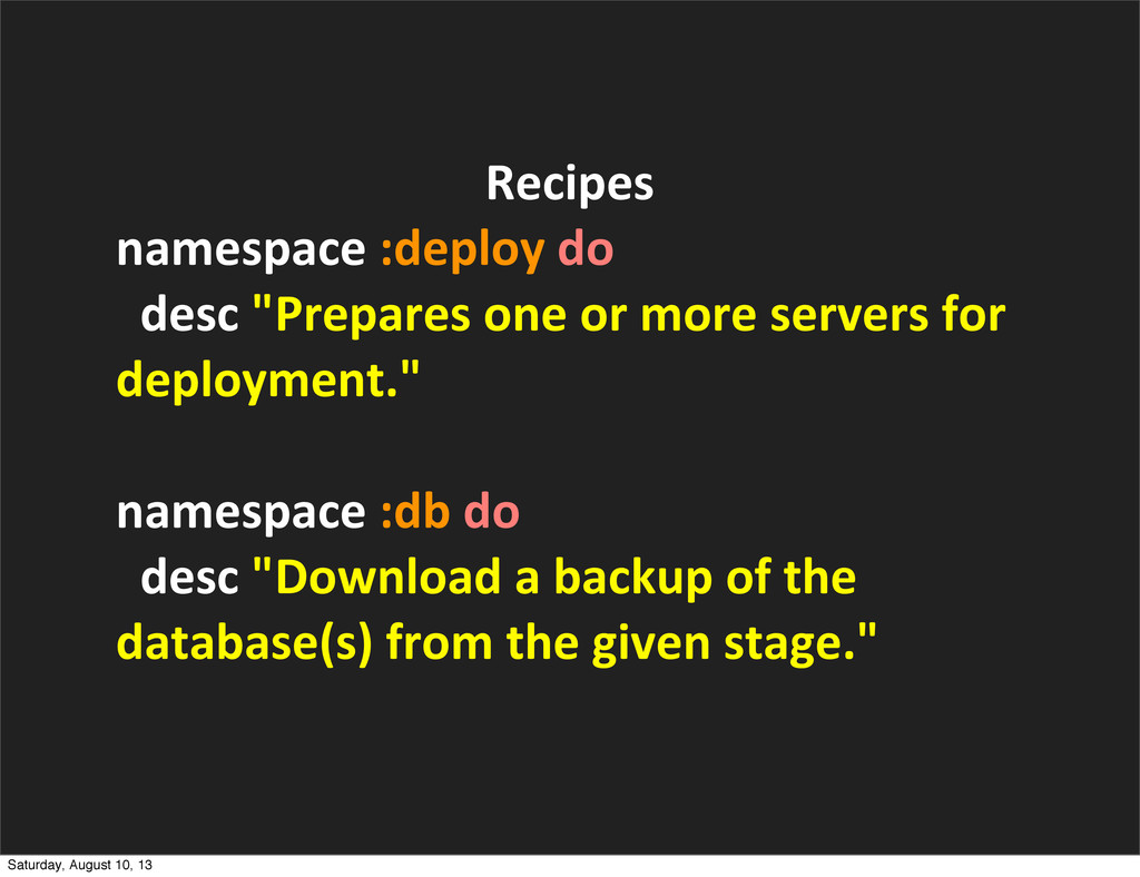 Recipes namespace	