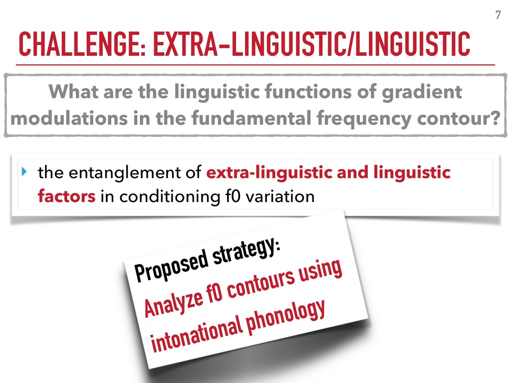 CHALLENGE: EXTRA-LINGUISTIC/LINGUISTIC 7 ‣ the ...