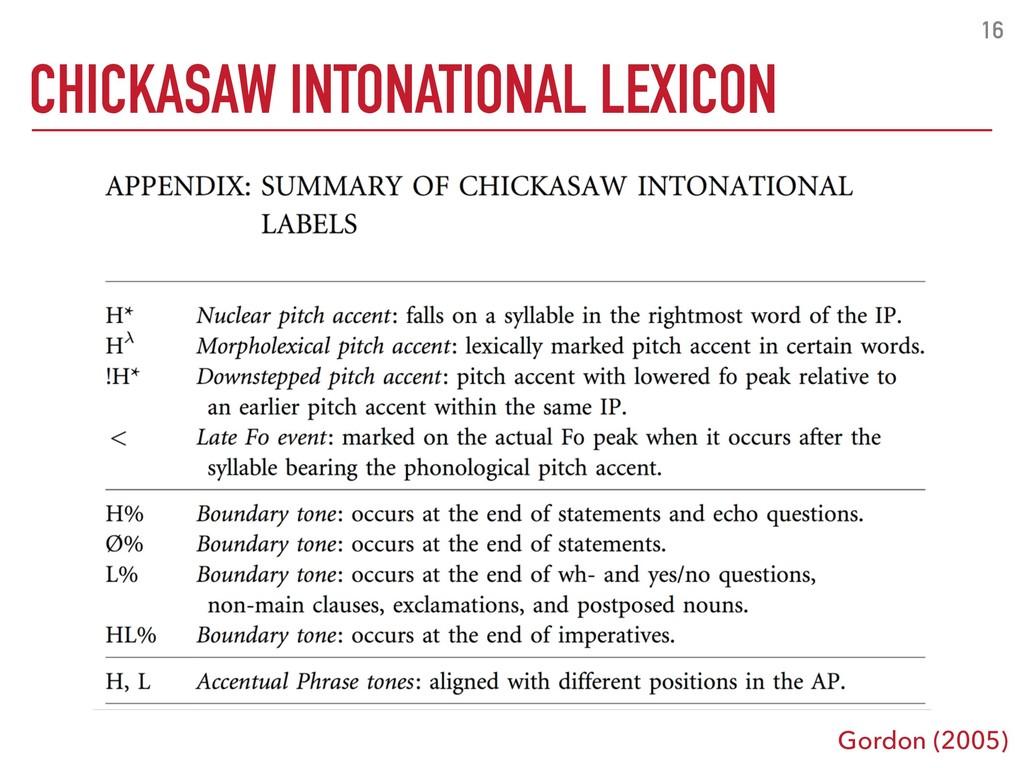 16 CHICKASAW INTONATIONAL LEXICON Gordon (2005)