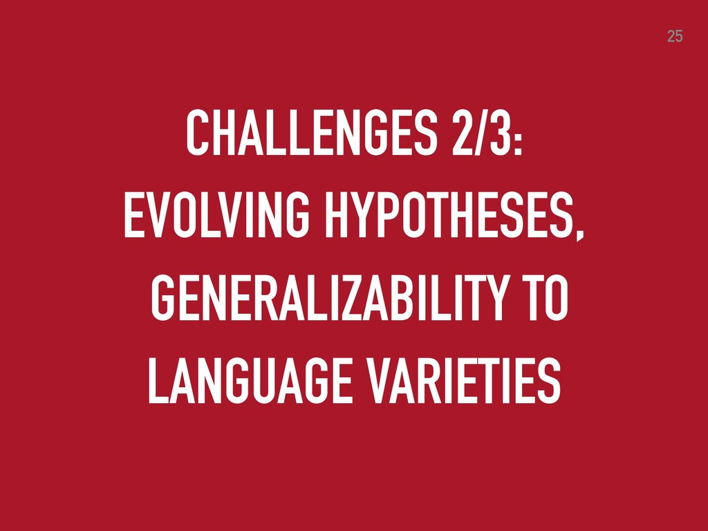25 CHALLENGES 2/3: EVOLVING HYPOTHESES, GENERAL...