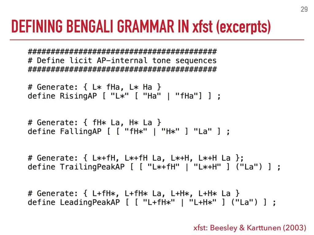 DEFINING BENGALI GRAMMAR IN xfst (excerpts) 29 ...