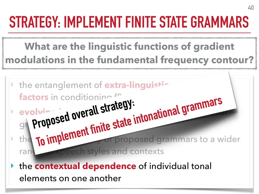 STRATEGY: IMPLEMENT FINITE STATE GRAMMARS 40 ‣ ...