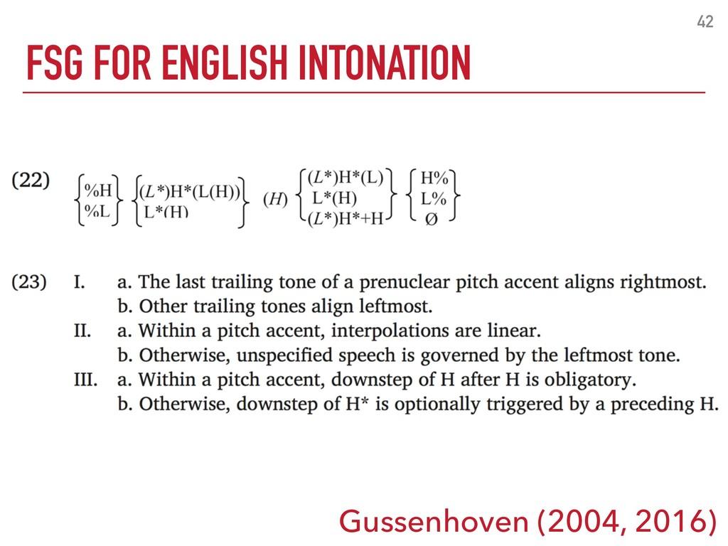FSG FOR ENGLISH INTONATION 42 Gussenhoven (2004...
