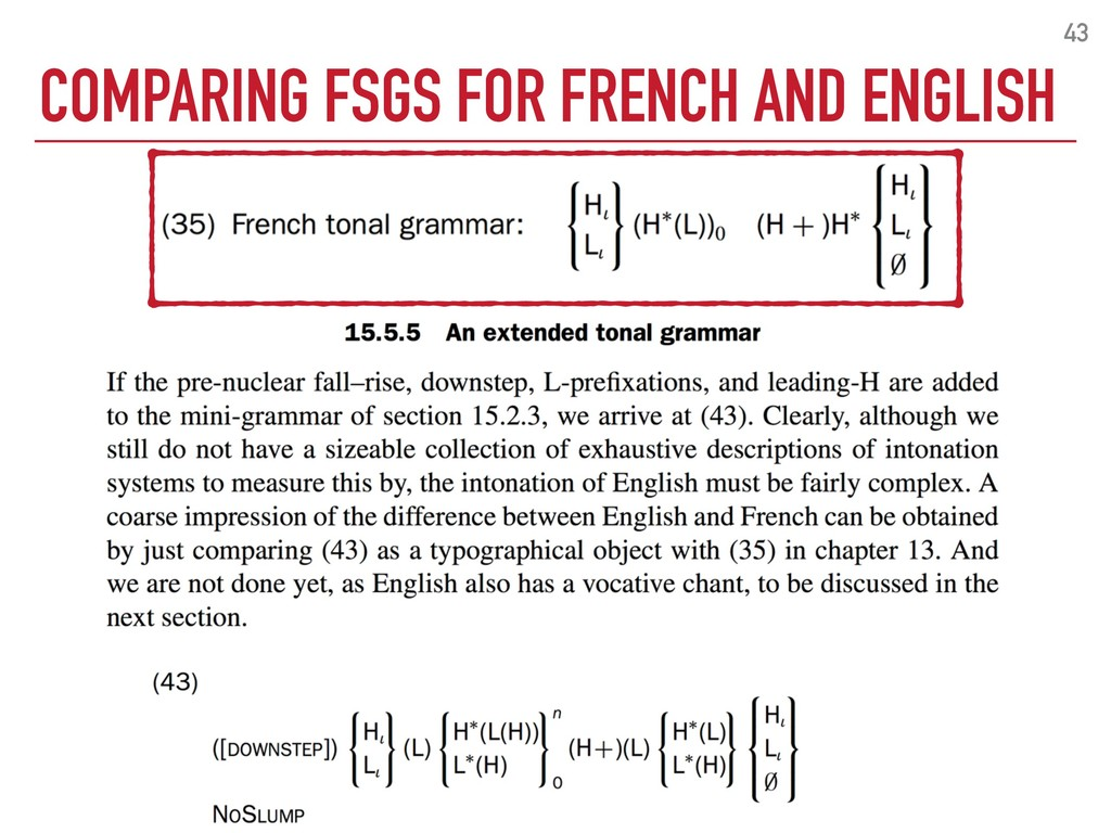 COMPARING FSGS FOR FRENCH AND ENGLISH 43