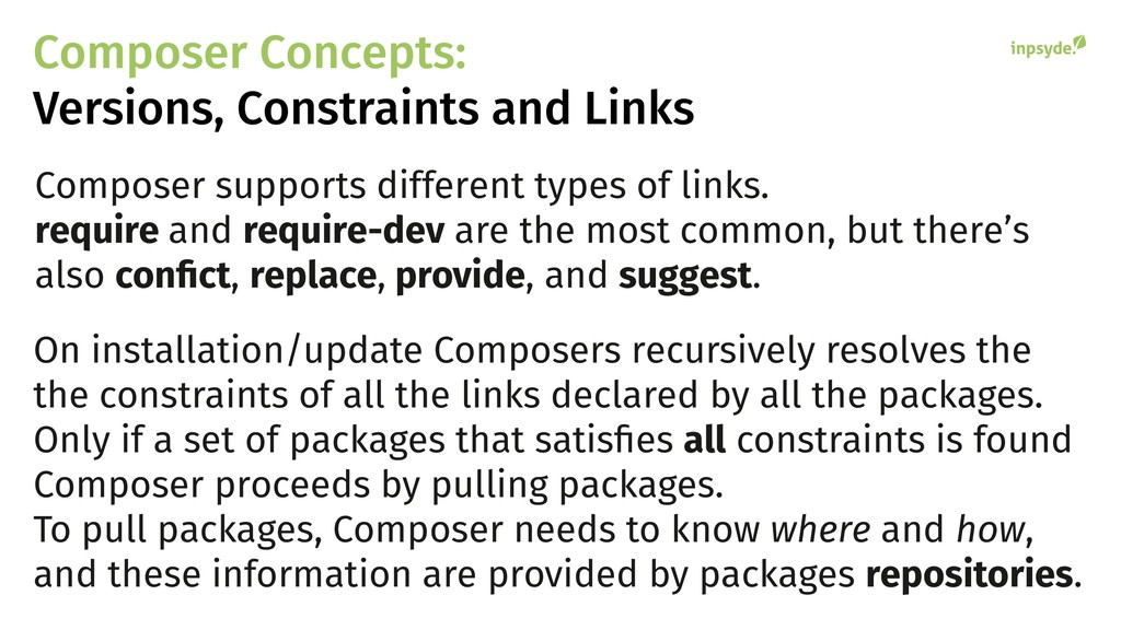Composer supports different types of links. req...