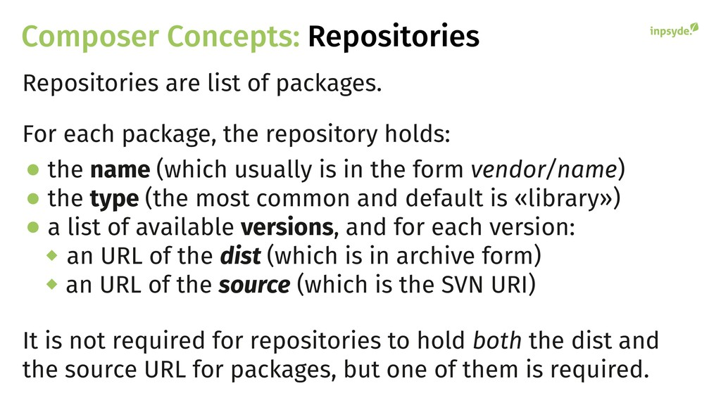 Composer Concepts: Repositories Repositories ar...