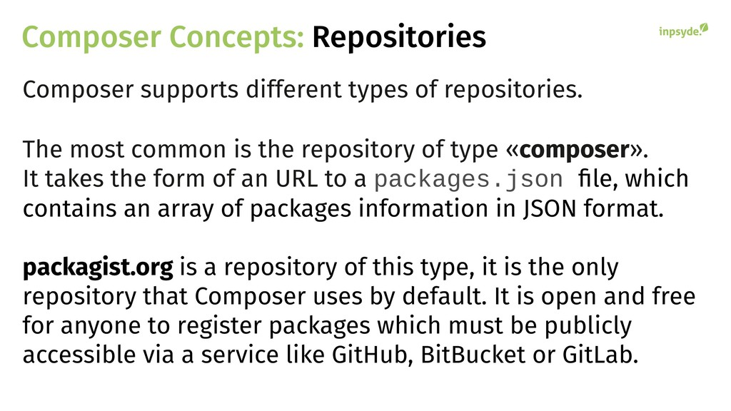 Composer Concepts: Repositories Composer suppor...