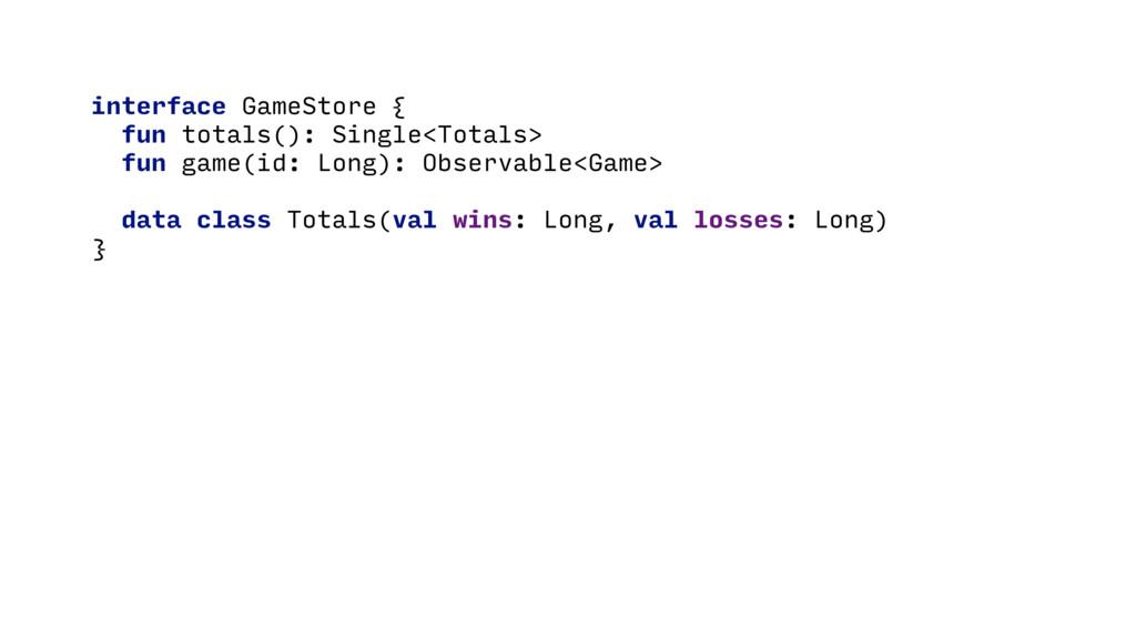 interface GameStore { fun totals(): Single<Tota...