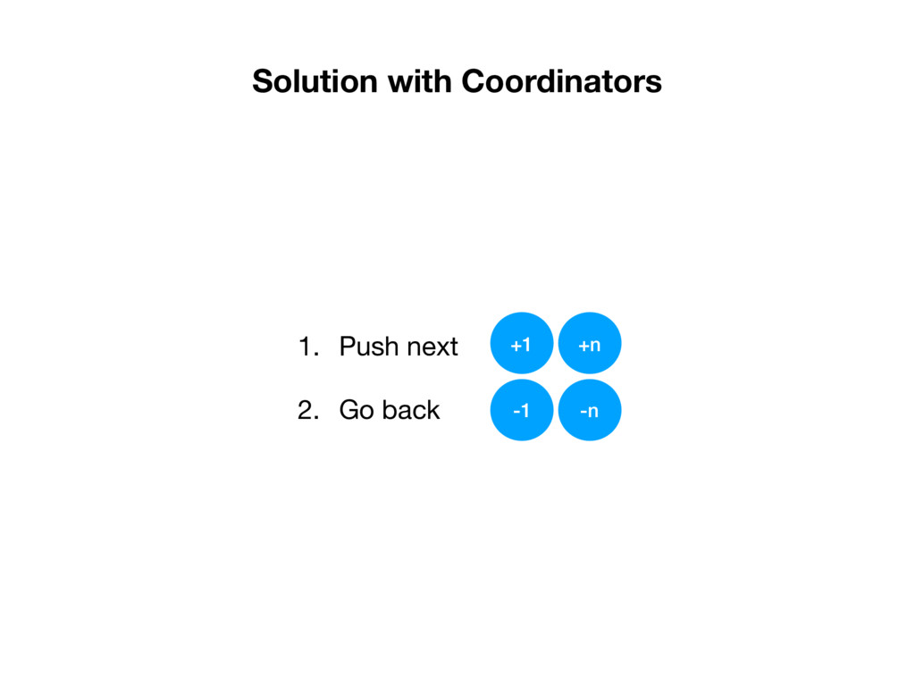 Solution with Coordinators 1. Push next  2. Go ...