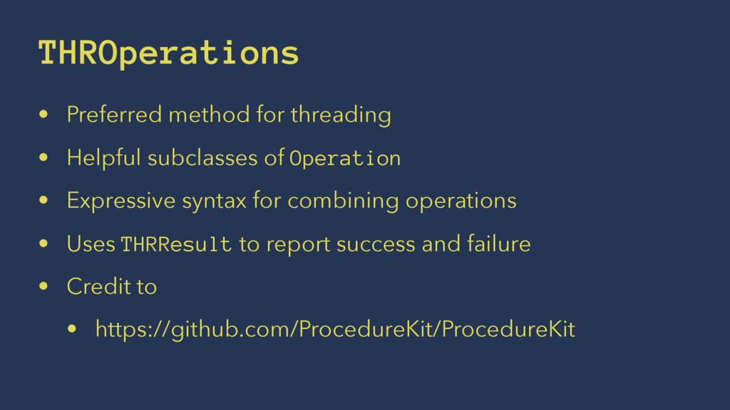 THROperations • Preferred method for threading ...