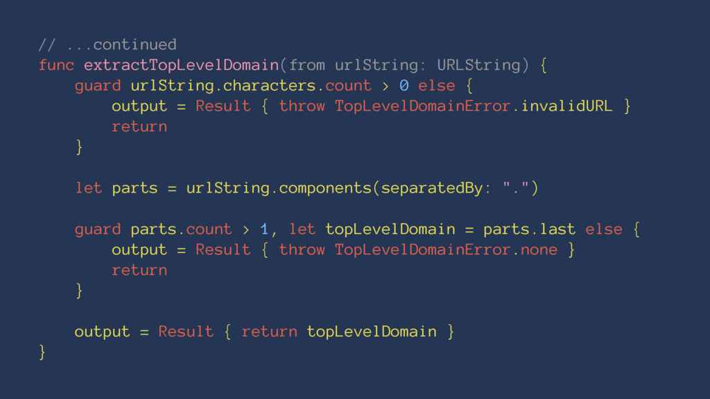// ...continued func extractTopLevelDomain(from...