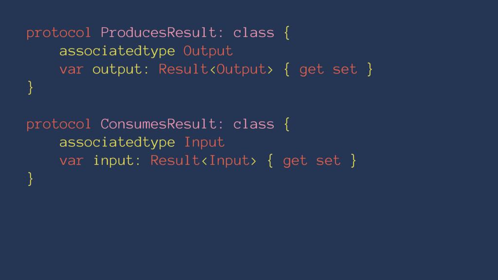 protocol ProducesResult: class { associatedtype...
