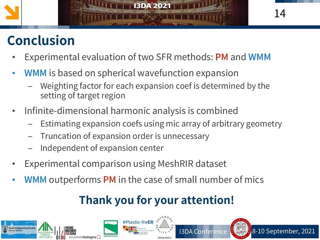 8-10 September, 2021 I3DA Conference 14 Conclus...