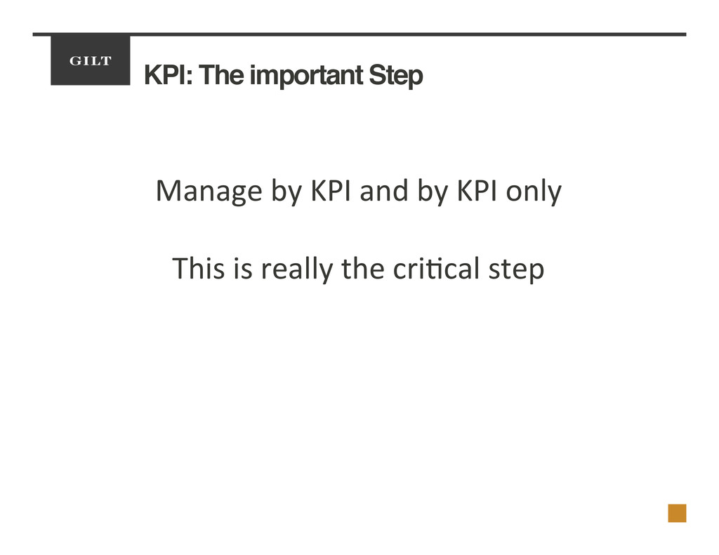 KPI: The important Step! Manage	
