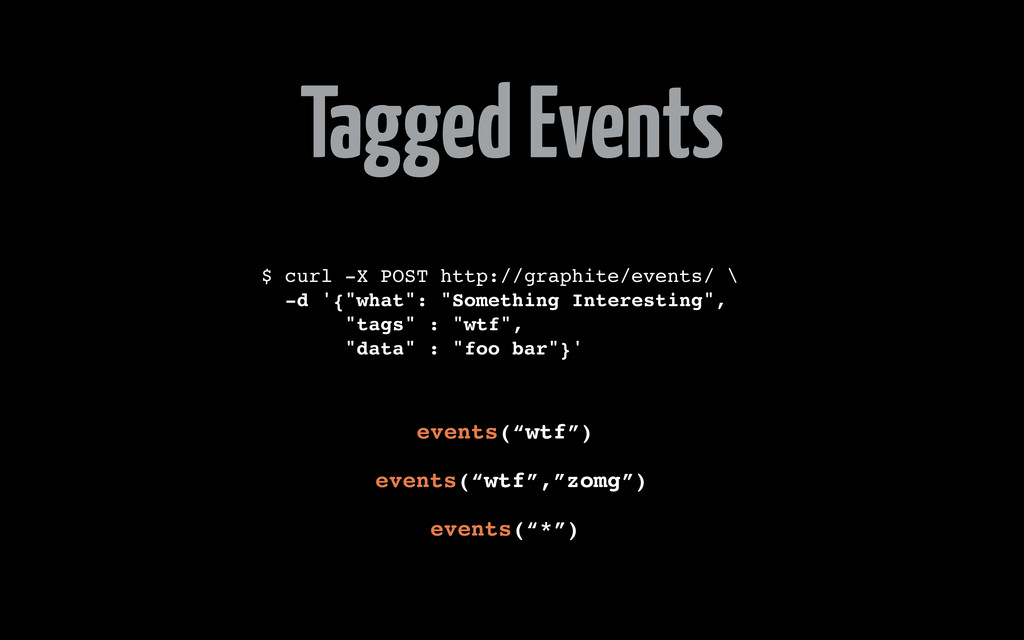 Tagged Events $ curl -X POST http://graphite/ev...