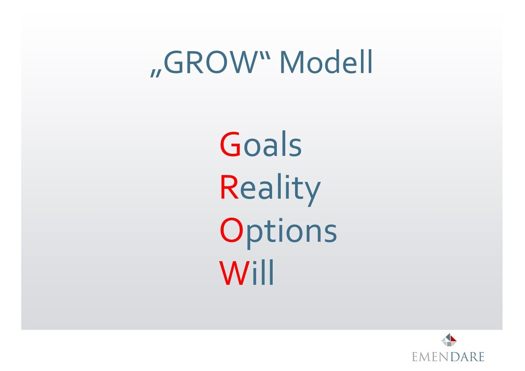 """""""GROW"""" Modell Goals Reality Options Will"""