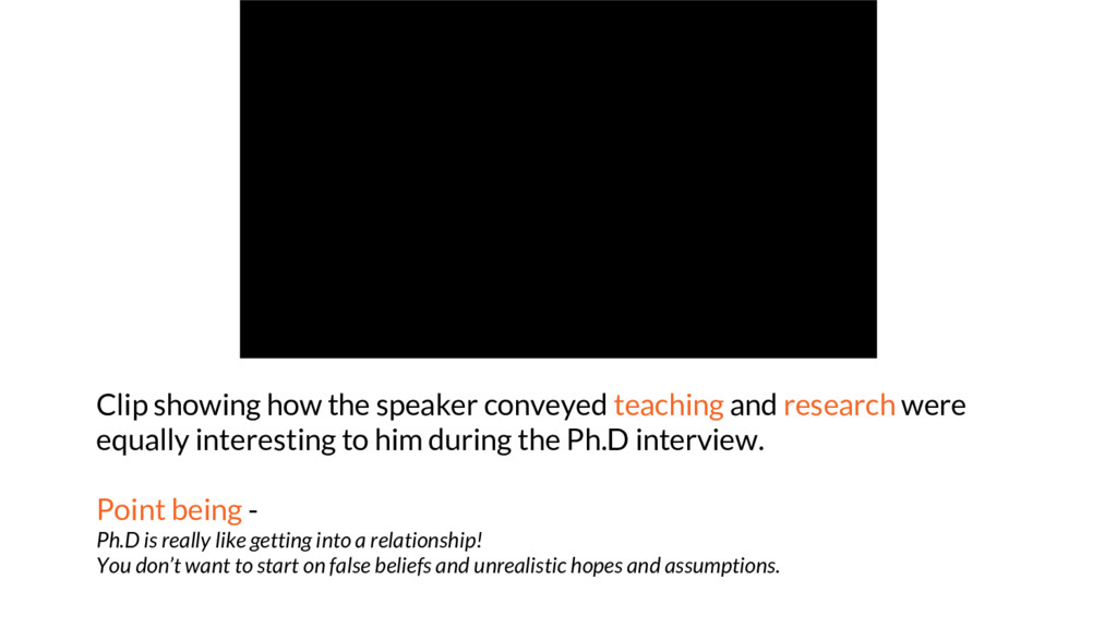 Clip showing how the speaker conveyed teaching ...