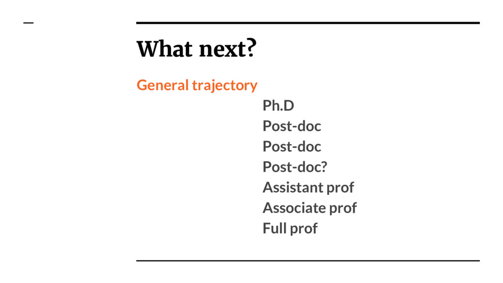 General trajectory Ph.D Post-doc Post-doc Post-...