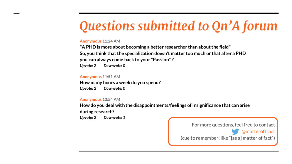 Questions submitted to Qn'A forum For more ques...
