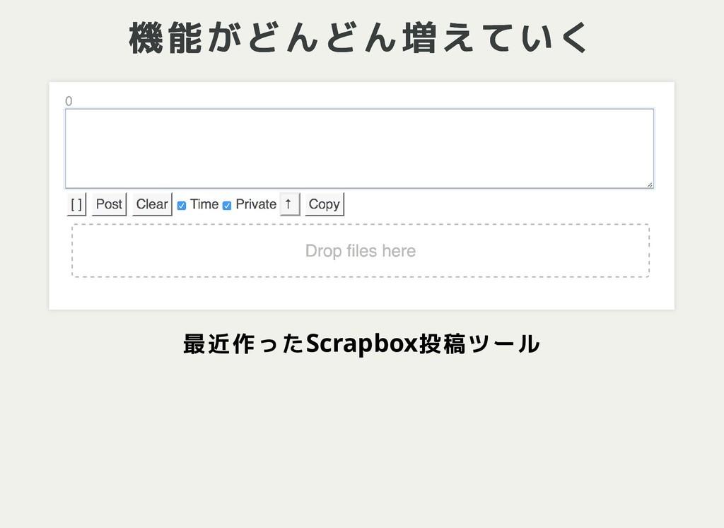 機能がどんどん増えていく 機能がどんどん増えていく 最近作ったScrapbox投稿ツール