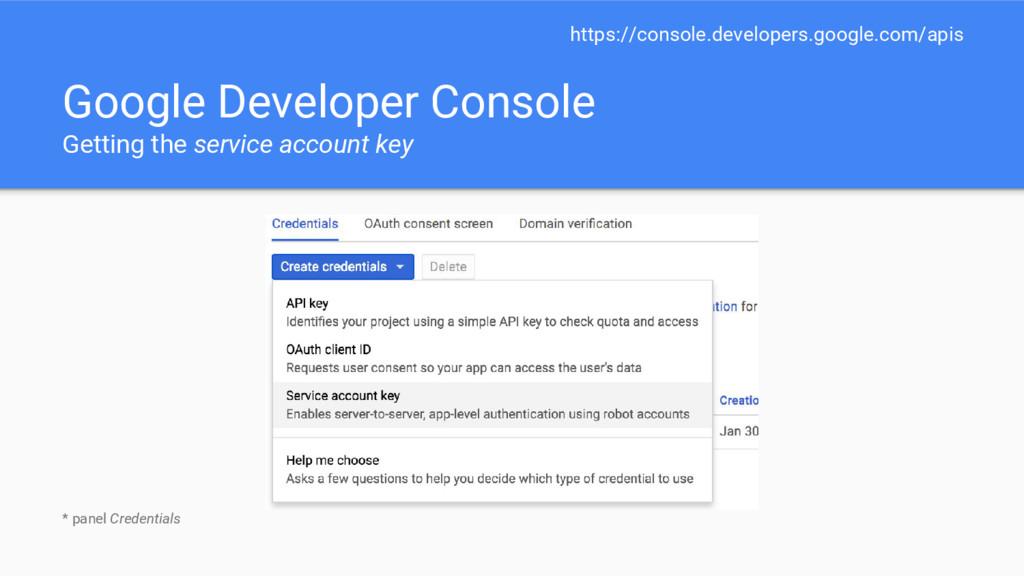 Google Developer Console Getting the service ac...