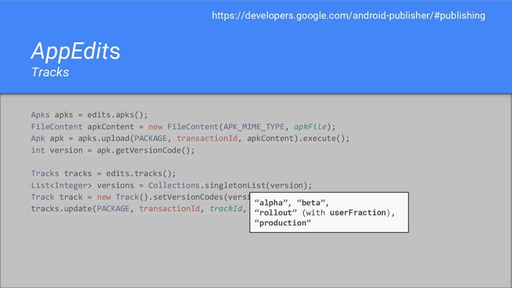 AppEdits Tracks Apks apks = edits.apks(); FileC...