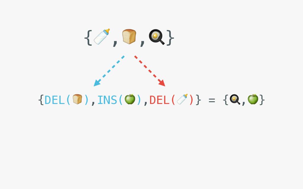{,,} {DEL(),INS(),DEL()} = {,}