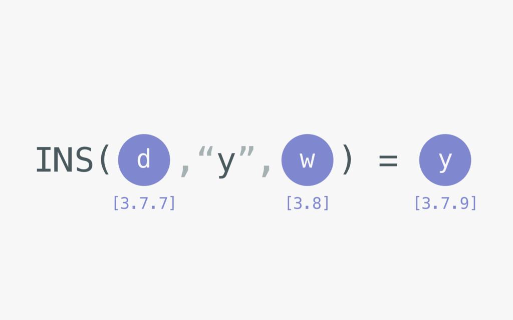 """INS( ,""""y"""", ) = d w [3.7.7] [3.8] y [3.7.9]"""