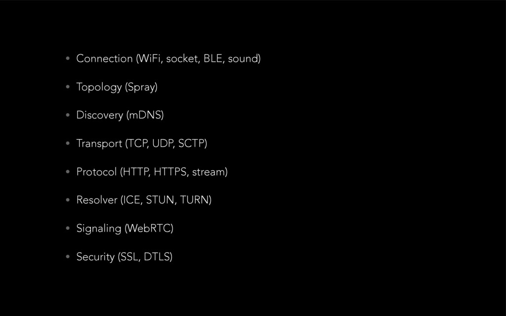 • Connection (WiFi, socket, BLE, sound) • Topol...