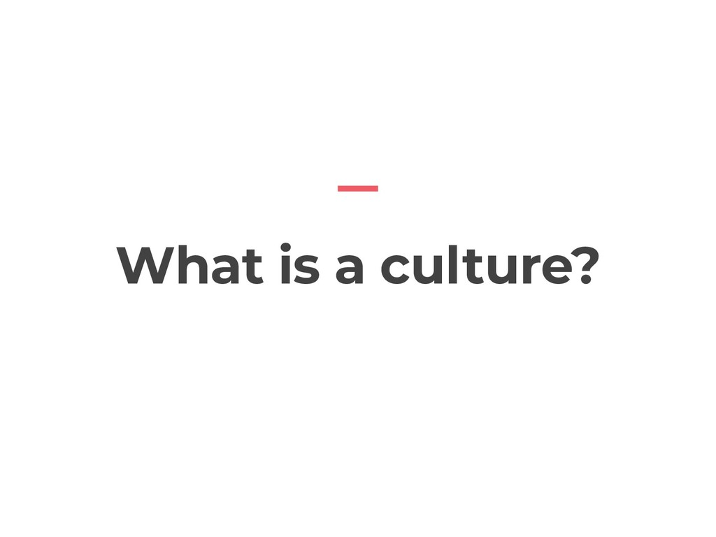 What is a culture?