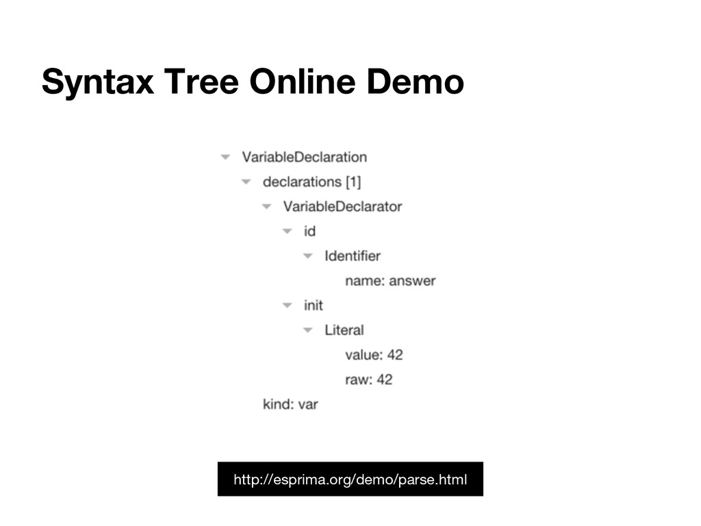 Syntax Tree Online Demo http://esprima.org/demo...
