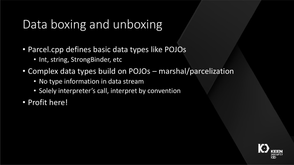 Data boxing and unboxing • Parcel.cpp defines b...