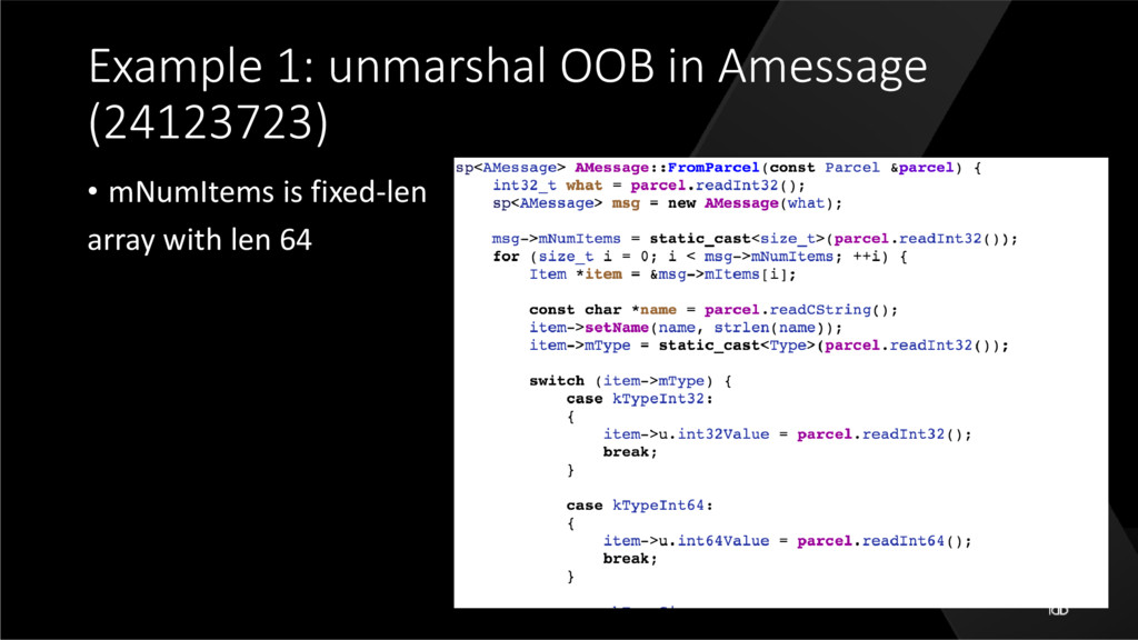 Example 1: unmarshal OOB in Amessage (24123723)...
