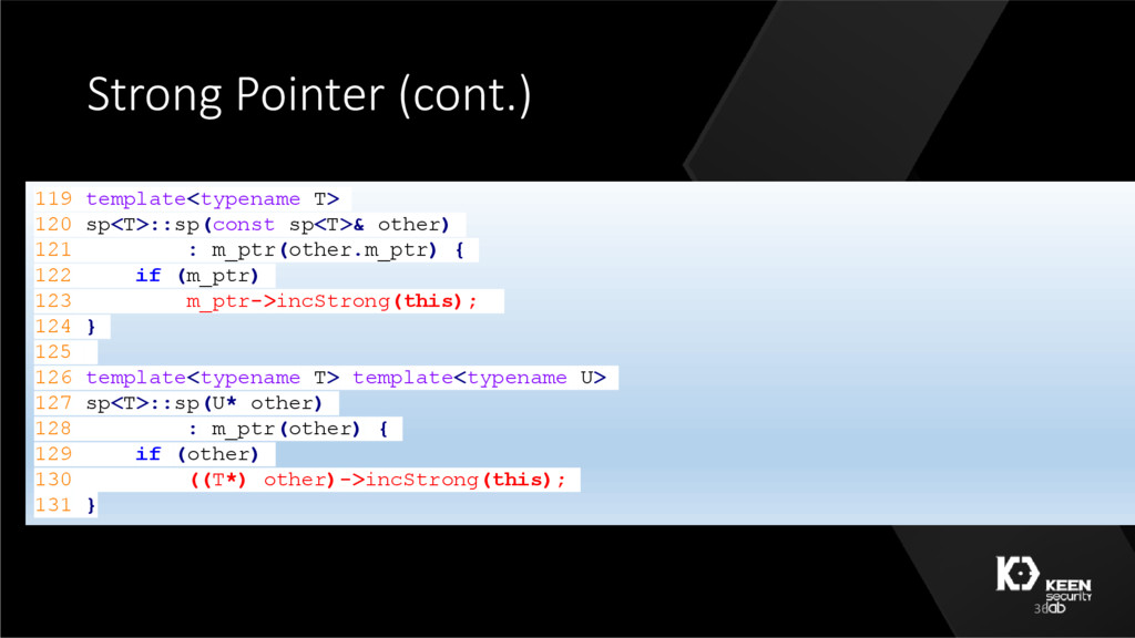 Strong Pointer (cont.) 119 template<typename T>...