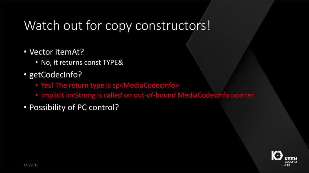 Watch out for copy constructors! • Vector itemA...