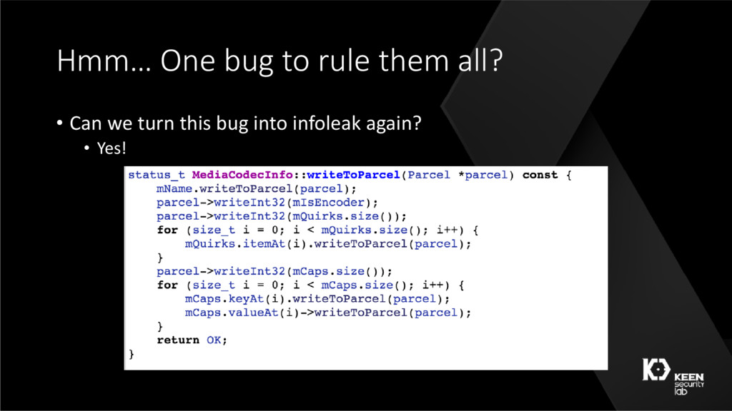 Hmm… One bug to rule them all? • Can we turn th...