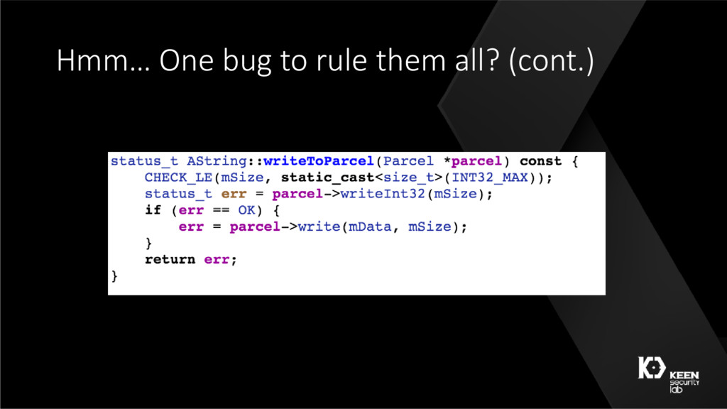 Hmm… One bug to rule them all? (cont.)