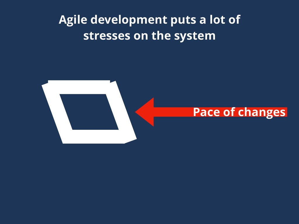 Pace of changes Agile development puts a lot of...