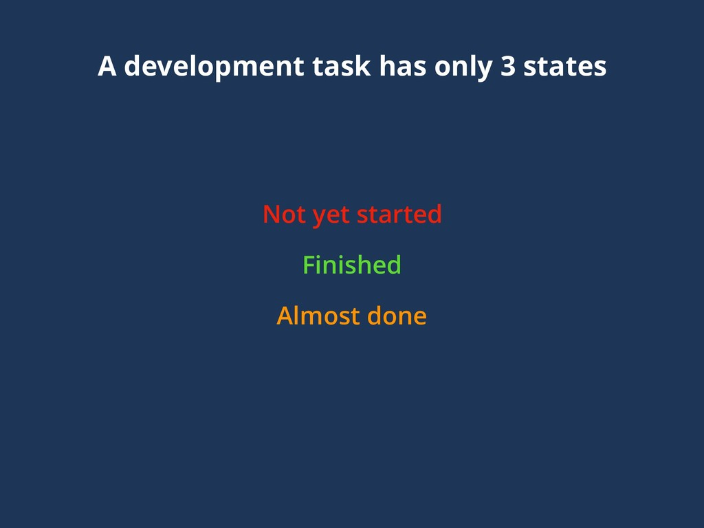 A development task has only 3 states Not yet st...