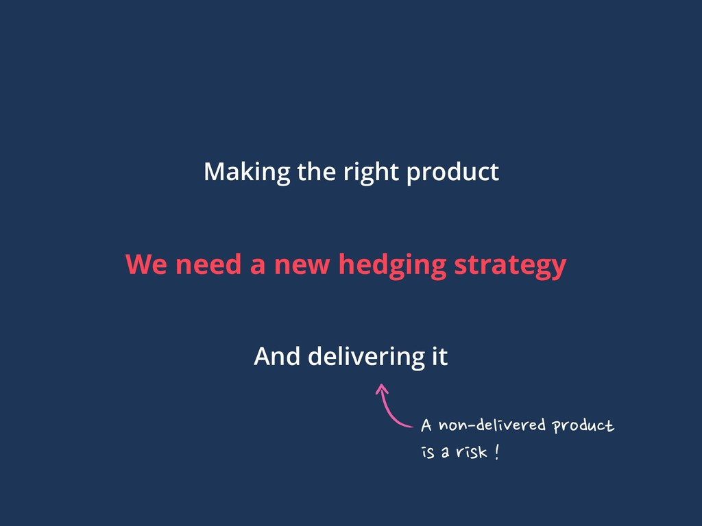 We need a new hedging strategy Making the right...