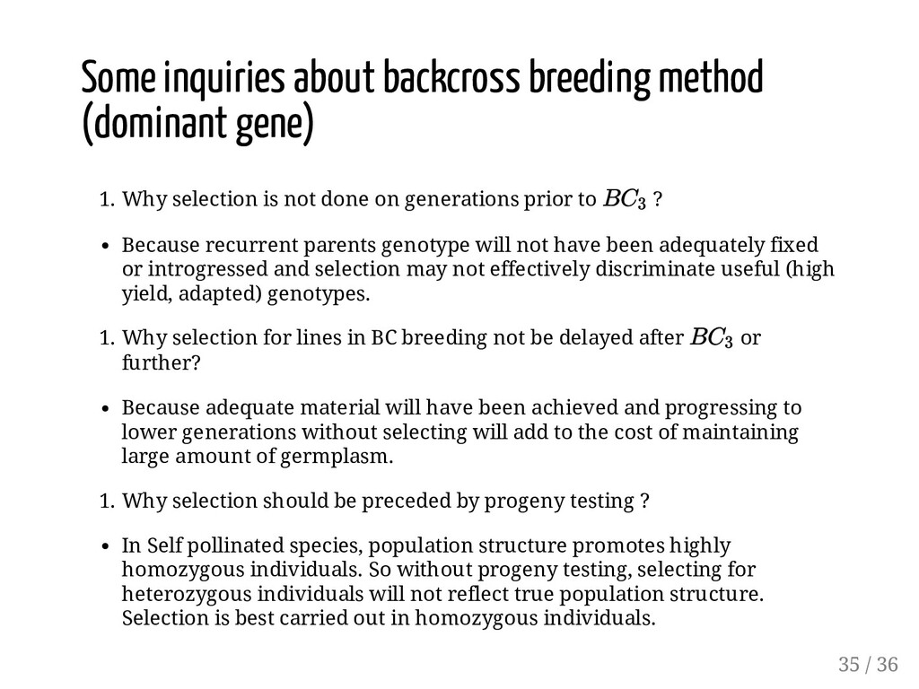 Some inquiries about backcross breeding method ...